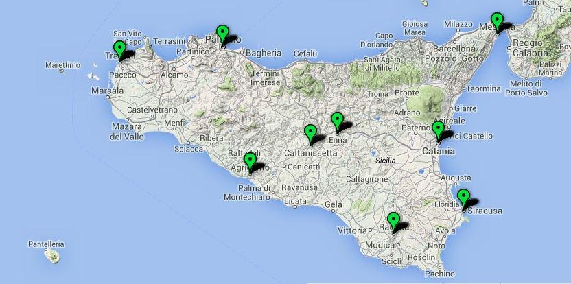 Mappa delle Dop e delle Igp siciliane